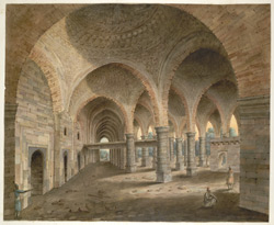 The many domed interior of the Adina Mosque at Pandua, including the western wall and its niches, and the royal platform